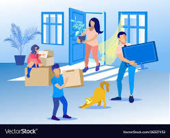 New Home Cartoon Images Happy Family With Cat Moving To New Home Cartoon