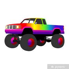 rainbow monster truck wall mural