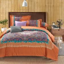 beautiful orange paisley duvet cover set with cotton and fabric euro shams and decorative