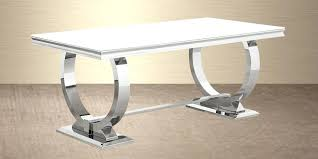 steel dining table stainless with round for 6 reclaimed wood trestle getting the sy and cool