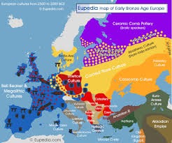 map of early to middle bronze age cultures from c 2 500 to 2 000 bce