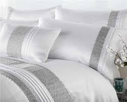 white king size duvet set luxury bedding silver diamante quilt cover bed set