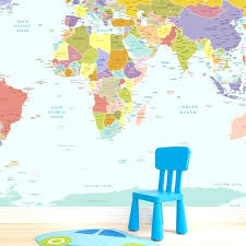 wall map of the world world map wallpaper mural for kids room world map wall decal