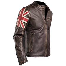 details about men s designer uk flag vintage cafe racer brown biker leather jacket
