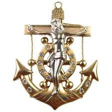 vintage 14k gold two tone mariners cross pendant 12 8 gram nautical crucifix
