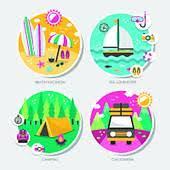 creative furniture icons set flat design. summer travel icons set in flat design creative furniture topic