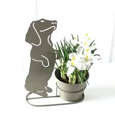 search funky flower pots outdoor grey metal dachshund planter