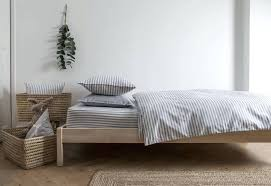 ticking stripe duvet cover navy blue grey by hare original