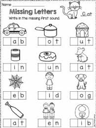 Each picture is missing the first letter of the word. Missing Words Worksheet