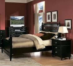 black furniture for bedroom. Splendid Black Side Table And Nice Wooden Bed Idea For Traditional Dark Red Bedroom Sets Furniture