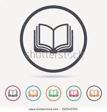 book icon study literature sign education stock vector  study literature sign education textbook symbol round circle buttons colored
