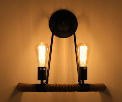 Vintage Lights For Sale Ruxue Industrial Wall Sconces Light Vintage Style Hemp Rope 2 Light Wall Light Fixtures