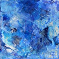 blue painting blue abstract square painting blue shades modern wall art by chakramoon by belinda