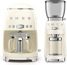 Digital led display with clock and auto start function. Amazon Com Smeg Dcf02crus 50 S Retro Style Drip Filter Coffee Maker Bundle With Smeg Cgf01crus Coffee Grinder Cream Kitchen Dining
