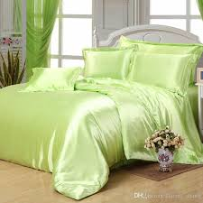 silk plain solid green apple feel satin duvet cover set luxury bed sheets sets bedding sets twin queen king size chenille bedding contemporary