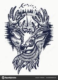олень и зимний лес тату и футболку дизайн векторное изображение