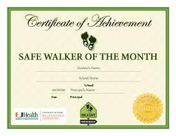 Principal Award Certificate Student Award Safe Walker Of The Month Certificate Kidz