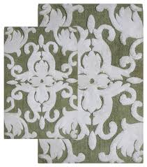 chesapeake iron gate 2pc green white scroll bath rug set 37310 contemporary bath mats by chesapeake merchandising inc