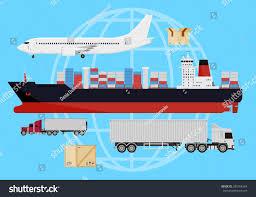 Cargo Web Design Deliver Cargo Web Design Icons Shipping Stock Vector