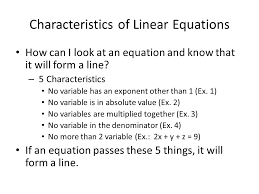 characteristics of linear equations