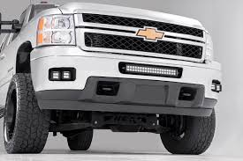 2 inch square cree led fog light kit for 11 14 chevrolet silverado 2500hd 3500hd pickups rough country suspension systems