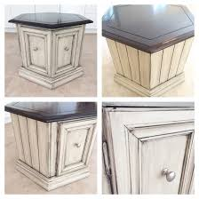 End Table Paint Ideas End Table Hexagon End Table Refinished In Cream Chalk Paint With