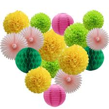 Paper Flower Balls To Hang From Ceiling Details About Party Decorations Kit Hanging Paper Fan Tissue Paper Pom Poms Flowers Honeycomb