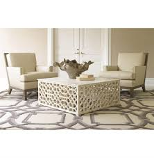mamounia global bazaar white marble fretwork square coffee table kathy kuo home