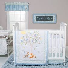 trend lab forest tales 6 piece crib bedding set white blue green yellow souq uae
