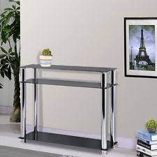 cheap hallway table. 3-Tier Black Glass Console Table Stainless Steel Leg Hall Modern Furniture Cheap Hallway S
