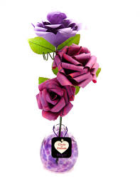 Paper Flower Business Purple Blown Glass And Paper Flower Bouquet Business Gifting