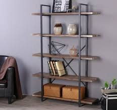 wooden bookcase furniture storage shelves shelving unit. 5 Shelves Bookcase Shelf Brown Vintage Metal Wood Bookshelf Unit Wooden  Storage Wooden Bookcase Furniture Storage Shelves Shelving Unit O