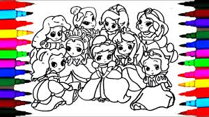 How To Draw The 9 Disney Princess Baby Coloring Drawing Pages