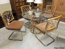 unique vine mid century modern dining room table rattan chairs 1981