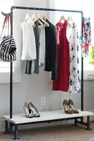 Diy Freestanding Industrial Look Garment Rack For Rooms With No In Addition  To Attractive Free Standing