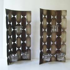2 modern metal wall hanging candle