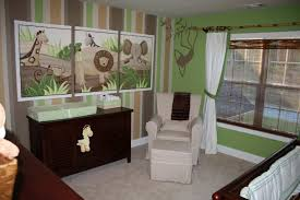 jungle themed furniture. Jungle Themed Baby Nursery With Stripes Walls And Animal Wall Decor Furniture R