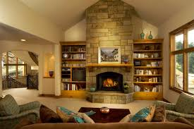 living room stone fireplace outdoor square rug brown microfiber sectional sofa industrial style room