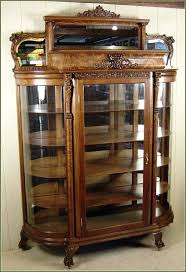 classy idea curved glass china cabinet oak curio cabinets antique co oak china cabinet curved glass