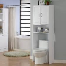 bathroom space savers bathtub storage: adorable bathroom storage over toilet with white wooden materials added a drawer and grey wall the