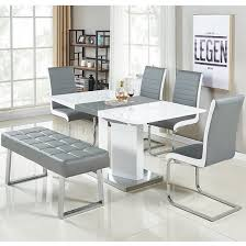 Captivating Belmonte Small Extendable Dining Set With Bench In White Grey_1