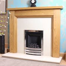 3 step solid oak slimline gas fireplace full package