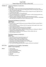 Engineer Technology Resume Samples Velvet Jobs
