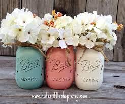 Blue Mason Jars Wedding Decor Painted Mason Jars Vase Vintage Looking Painted Mason Jars Pink 73