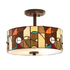 semi flush mount hanging light fixture ceiling lights bronze glass mission style