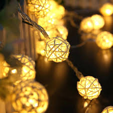 battery outdoor string lights led handmade rattan fairy party wedding light operated home depot