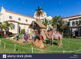 Life size Nativity scene outside the Church of Little Flower, Coral Gable, Miami-Dade, Florida, USA. Flower