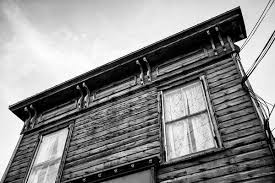 old architectural photography. Black And White Photograph Of The Italianate Roofline Weathered Wooden 1880s-era Drugstore Old Architectural Photography