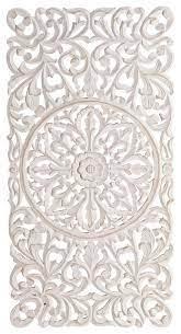 rectangle decorative whitewashed carved