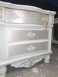 silver painted furniture. Metallic Painted Furniture Ideas Custom ASCP Blend And Modern Masters Paint In Oyster The Shabby Silver